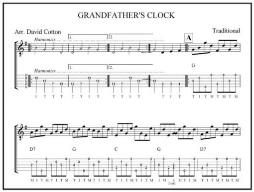 Grandfatheru0026#39;s Clock, bluegrass banjo solo, arranged by David Cotton, written in tab, sheet music ...