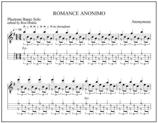Guitar guitar tabs classical : Romance Anonimo, a beautiful classical guitar solo, arranged for ...