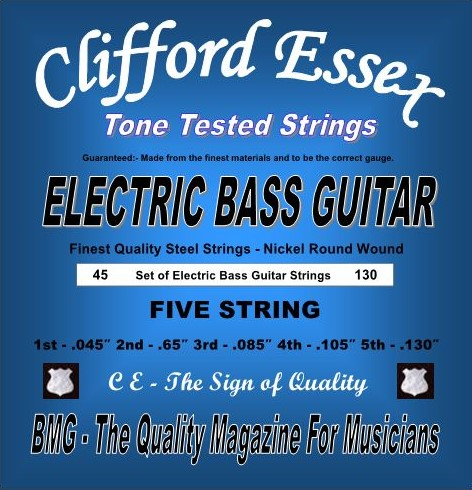 ELECTRIC FIVE STRING BASS GUITAR. MADE FROM THE VERY FINEST MATERIALS. NICKEL ROUND WOUND. MEDIUM GAUGE. 45 - 130.