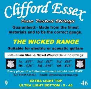 EXTRA LIGHT TOP/ULTRA LIGHT BOTTOM. 9-46. NICKEL ROUND WOUND SETS.