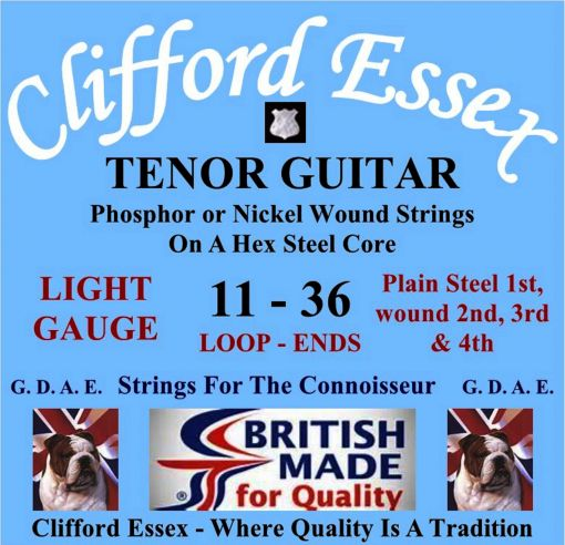 TENOR GUITAR STRINGS. LIGHT GAUGE. FOR G. D. A. E. TUNING. WOUND 2ND, 3RD & 4TH. BALL-ENDS OR LOOP-ENDS.