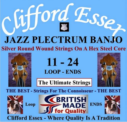PLECTRUM BANJO JAZZ STRINGS. 11 - 24. SILVER PLATED PRODUCING A BRIGHT SPARKLING TONE.