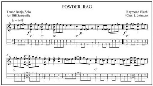 Banjo banjo tablature paper : Powder Rag, tenir banjo solo, written in notation and tab. - Sheet ...