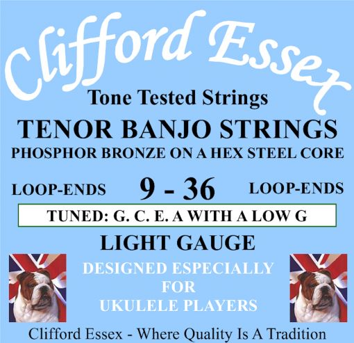 TENOR BANJO STRINGS TUNED GCEA. LIGHT GAUGE. DESIGNED FOR UKULELE PLAYERS.