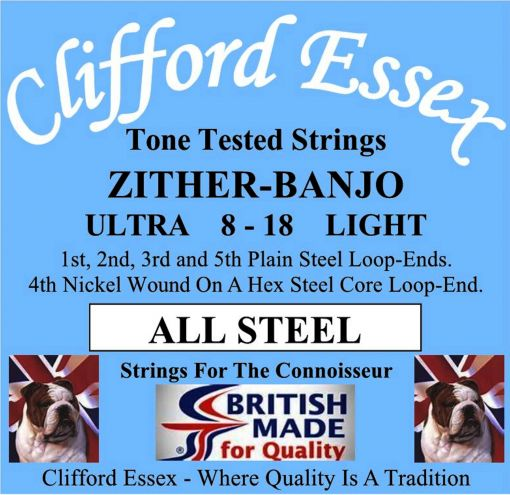 ZITHER-BANJO STRINGS. ALL STEEL. LOOP-ENDS OR BALL-ENDS. 8 - 18.